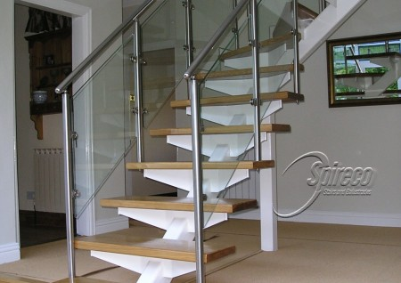 Cantilever Deep Oak Tread Stairs Spireco Spiral Stairs