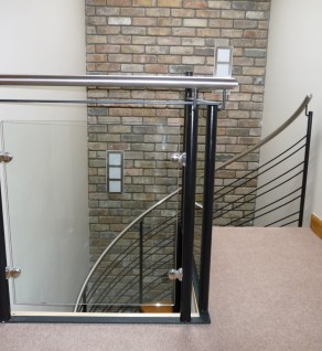 'Claremont' Black Steel & Glass Balustrade