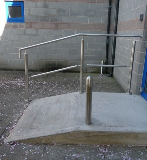 'Ashbourne School' Stainless Steel Ramp Rails & Bollard