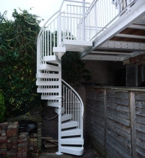 White Powder-Coated Spiral Stairs